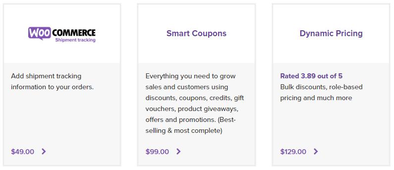 Tre eksempler på betalte plugins fra det officielle WooCommerce pluginkatalog.