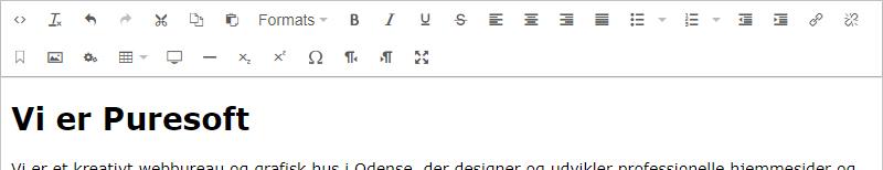 En rich text editor giver dig mulighed for at vælge formater og styre teksten. Her ses RTE'en fra Umbraco.