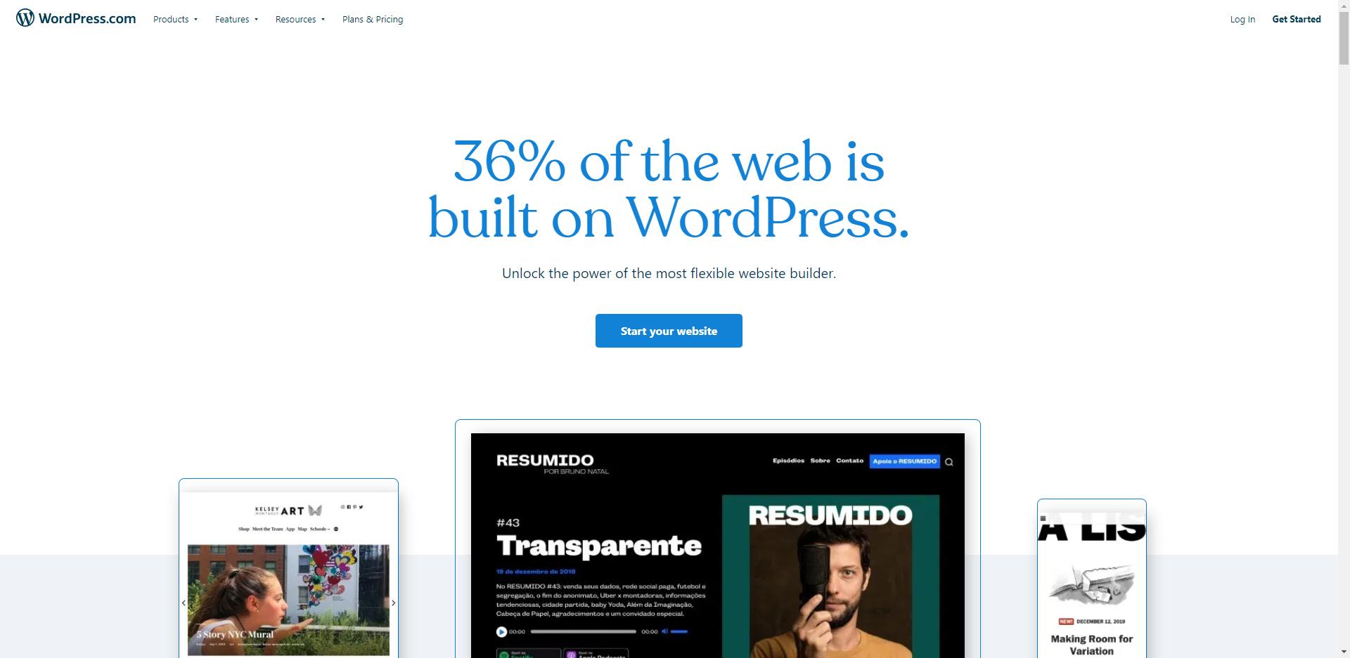 Et skærmklip fra WordPress.com